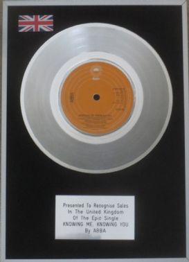 ABBA - 7 inch Platinum Disc - KNOWING ME KNOWING YOU